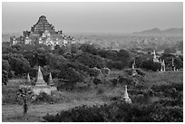 View from Shwesandaw. Bagan, Myanmar ( black and white)