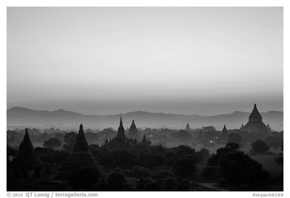 Archeological area at sunset. Bagan, Myanmar (black and white)