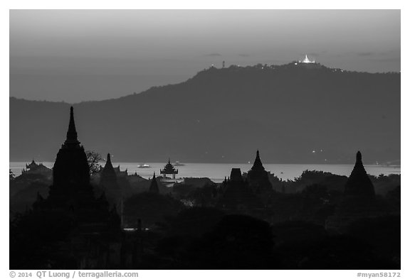 Temples and Ayeyarwaddy River at dusk. Bagan, Myanmar (black and white)