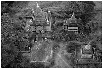 Temple seen from the air. Bagan, Myanmar ( black and white)