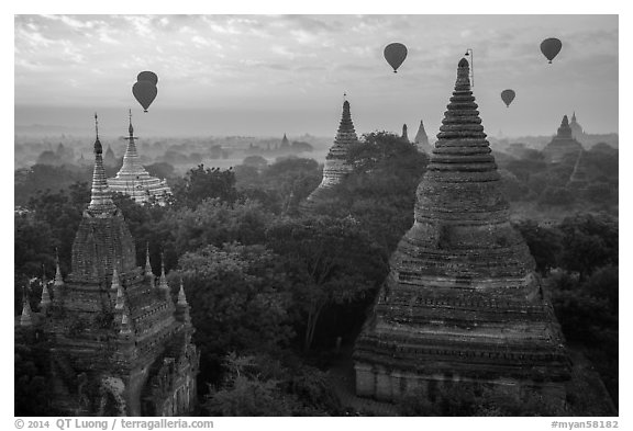 Temples and hot air ballons at sunrise. Bagan, Myanmar (black and white)