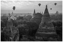 Temples and hot air ballons at sunrise. Bagan, Myanmar ( black and white)
