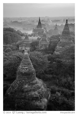 Aerial view of ancient temples. Bagan, Myanmar (black and white)