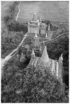 Small temple complex seen from above. Bagan, Myanmar ( black and white)