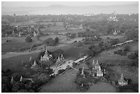 Aerial view of many temples set amongst fields. Bagan, Myanmar ( black and white)