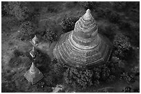 Aerial view of pagoda complex. Bagan, Myanmar ( black and white)