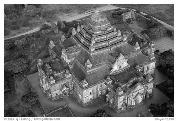 Aerial view of Dahmmayan Temple. Bagan, Myanmar (black and white)