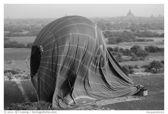 Aerial view of landed hot air balloon. Bagan, Myanmar (black and white)