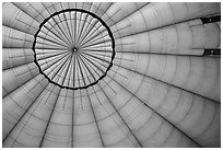 Looking up inside hot air balloon. Bagan, Myanmar ( black and white)