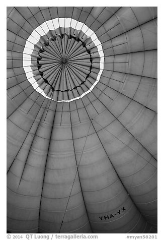 Top vent inside hot air balloon. Bagan, Myanmar (black and white)