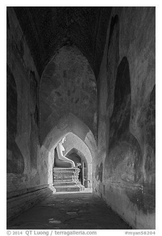 Corridor with frescoes and buddha statue, Sulamani temple. Bagan, Myanmar (black and white)
