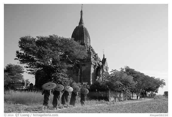 Five novices with red umbrellas walking below temple. Bagan, Myanmar (black and white)