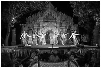 Traditional dance and musical performance. Bagan, Myanmar ( black and white)