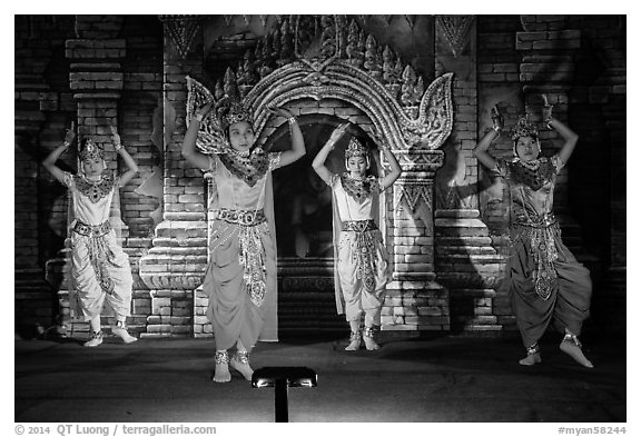 Dancers in traditional costume. Bagan, Myanmar (black and white)