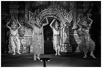 Dancers in traditional costume. Bagan, Myanmar ( black and white)