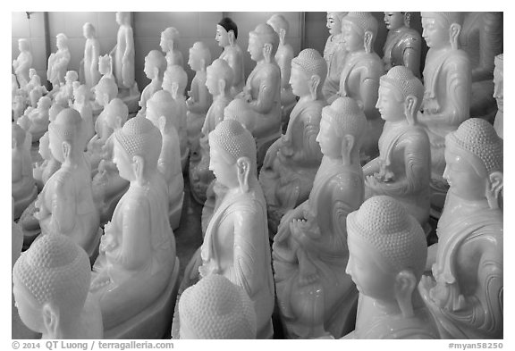 White marble buddha statues for sale. Mandalay, Myanmar (black and white)