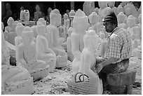 Worshop producing buddha statues on Marble street. Mandalay, Myanmar ( black and white)
