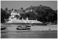 Settawya Pagoda and unfinished Mingun Pagoda from river, Mingun. Myanmar ( black and white)