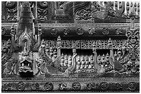 Detail of teak carving, Shwe In Bin Kyaung pagoda. Mandalay, Myanmar ( black and white)