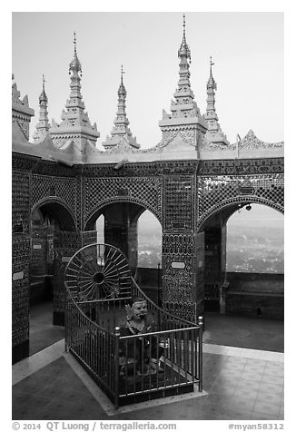 Ogre King and view from  Mandalay Hill. Mandalay, Myanmar (black and white)