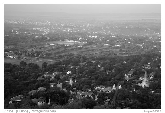 View from Mandalay Hill, early morning. Mandalay, Myanmar (black and white)