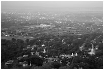 View from Mandalay Hill, early morning. Mandalay, Myanmar ( black and white)