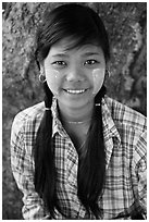 Young woman with sweet smile, Ava. Myanmar ( black and white)