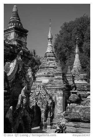 Ancient temples, Ava. Myanmar (black and white)