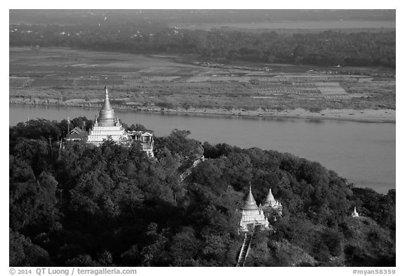Ayeyarwady River and pagodas from Sagaing Hill. Myanmar (black and white)