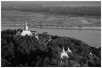 Ayeyarwady River and pagodas from Sagaing Hill. Myanmar ( black and white)