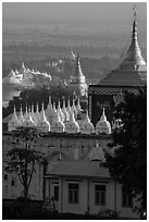 Pagodas on Sagaing Hill. Myanmar ( black and white)