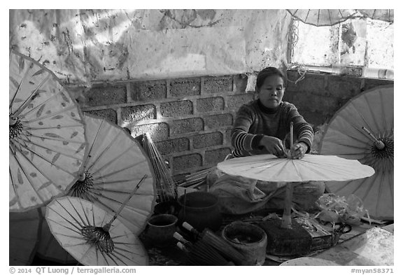 Paper umbrella workshop. Pindaya, Myanmar (black and white)