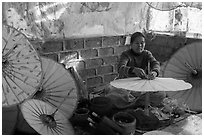 Paper umbrella workshop. Pindaya, Myanmar ( black and white)