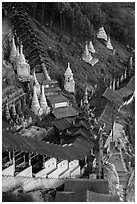 Hsaungdan (covered stairway) to the caves. Pindaya, Myanmar ( black and white)