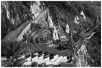 Hillside with covered stairway. Pindaya, Myanmar ( black and white)