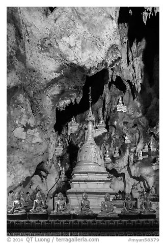 Cavern in the interior of Pindaya Caves. Pindaya, Myanmar (black and white)