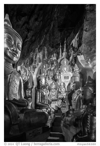 Labyrinth of buddha images in Pindaya Caves. Pindaya, Myanmar (black and white)