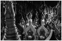 Buddha statues. Pindaya, Myanmar ( black and white)