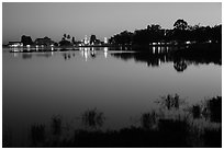 Illuminated pagoda reflected in Pone Tanoke Lake. Pindaya, Myanmar ( black and white)