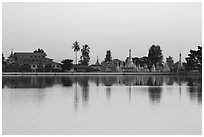 Pagoda reflected in Pone Tanoke Lake at dawn. Pindaya, Myanmar ( black and white)
