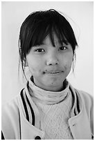 Woman with sweater. Pindaya, Myanmar ( black and white)