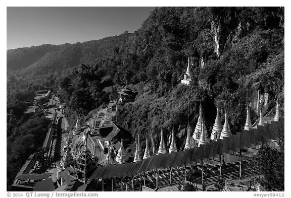 Hillside below  Pindaya Caves with Hsaungdan. Pindaya, Myanmar (black and white)