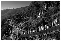 Hillside below  Pindaya Caves with Hsaungdan. Pindaya, Myanmar ( black and white)