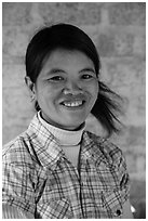 Smiling woman. Pindaya, Myanmar ( black and white)