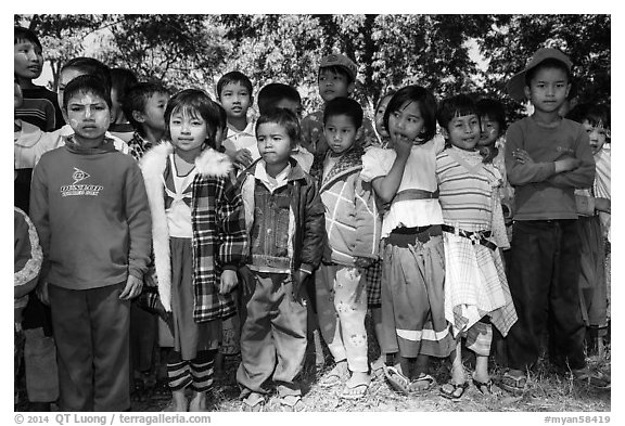Young schoolchildren, Nyaung Shwe. Inle Lake, Myanmar (black and white)