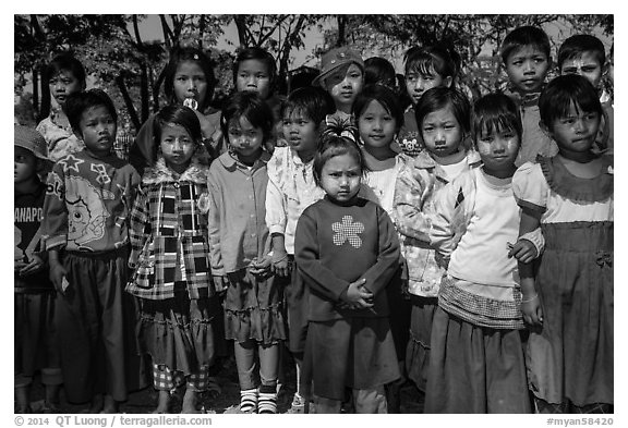 Group of schoolchildren, Nyaung Shwe,. Inle Lake, Myanmar (black and white)