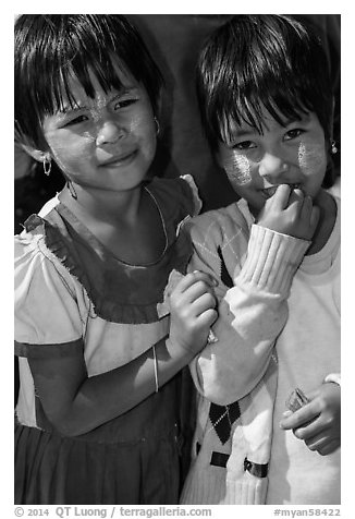 Two young friends, Nyaung Shwe. Inle Lake, Myanmar (black and white)