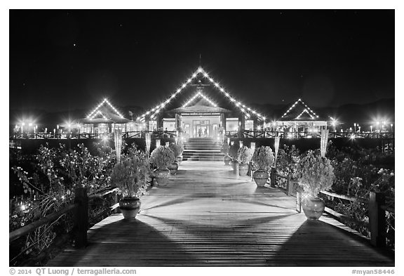Main deck of Myanmar Treasure Resort at night. Inle Lake, Myanmar (black and white)
