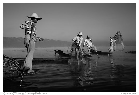 Intha fishermen standing on stern of their boats to fish. Inle Lake, Myanmar (black and white)