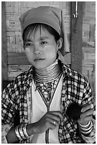 Kayan woman of the Padaung tribe wearing brass neck coils. Inle Lake, Myanmar ( black and white)